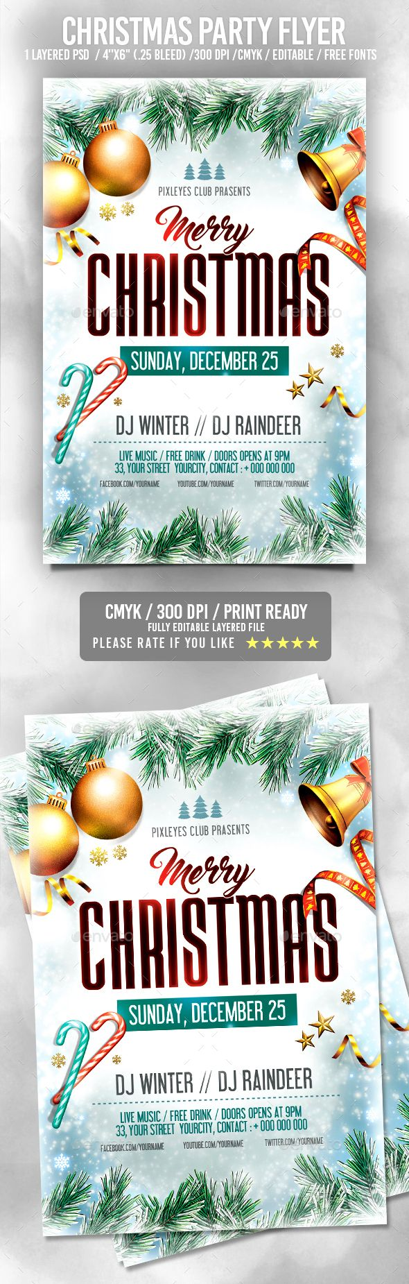 Christmas Flyer — Photoshop PSD #christmas invitation #vintage christmas • Available here → https://graphicriver.net/item/christmas-flyer/18864643?ref=pxcr