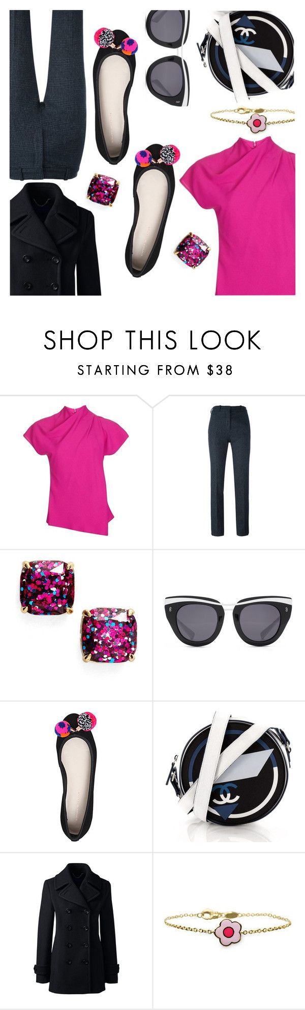 """Pink & Black & Tweed"" by stacey-lynne ❤ liked on Polyvore featuring Topshop, Victoria Beckham, Kate Spade, HOOK LDN, Sophia Webster, Chanel, Lands' End and Aaron Basha"