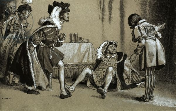 King Henry VIII having been thrown to the ground by king Francis I. The servant remarks: 'Your Majesties, dinner is served.' Lea, Frank Marsden (1900-67) / Private Collection / © Look and Learn / Bridgeman Images