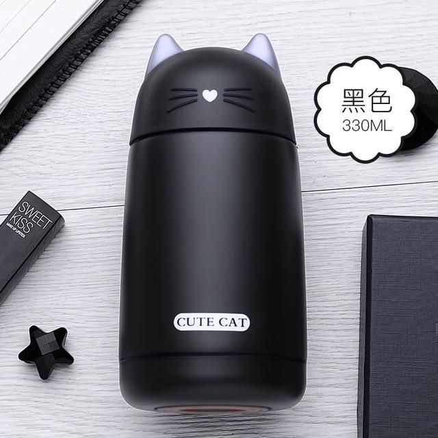 Thermos Cup Cartoon Cat Thermo Mug Drinkware Kids Water Bottle Stainless Steel Child Vacuum Flask cup Tumbler leak-proof Tumbler
