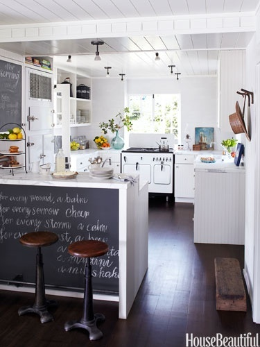 A blackboard in a kitchen makes it easy to write down reminders, grocery lists, or even an inspirational quote for everyone to see.  Family and Kid Friendly Kitchens from House Beautiful
