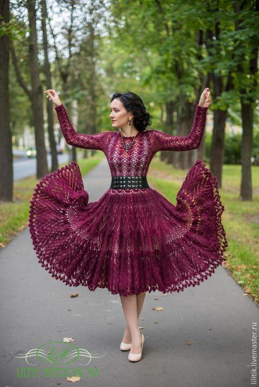 """Купить """"Афродита-Марсала"""" - бордовый, марсала, вязаное платье, платье из кидмохера, пышное платье"""