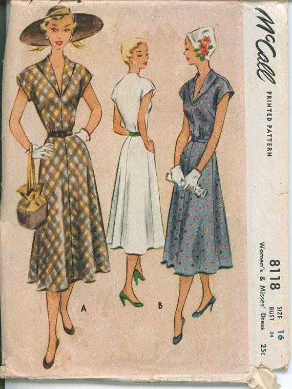 1950 McCall 8118 Dress Sewing Pattern Vintage Size 16 June Cleaver Pleasantville
