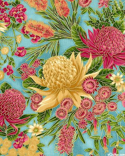 Under the Australian Sun - Waratah Blooming - Seaspray Mint/Gold