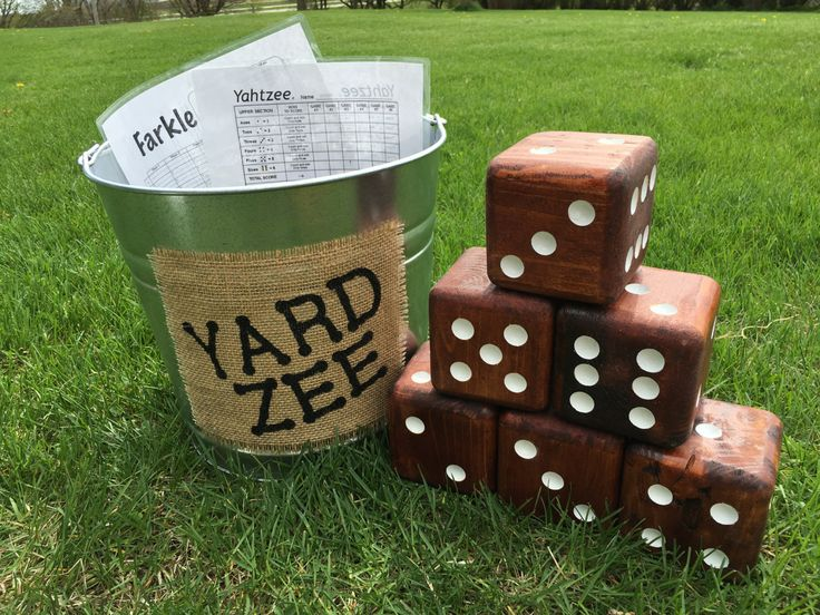 Yard-Zee, Giant Yard Dice Yahtzee Game, Farkle Dice Game, Six handmade wooden dice with galvanized steel pail, Outdoor Yard-Zee Family Game by AllAroundWood2 on Etsy