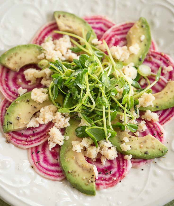 """Beet and Avocado Salad with Cumin Lime Ginger Macadamia """"Cheese"""" at Rawmazing.com"""