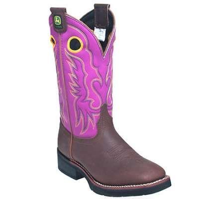 John deere womens pink pull on cowboy boots in Women Work Boots