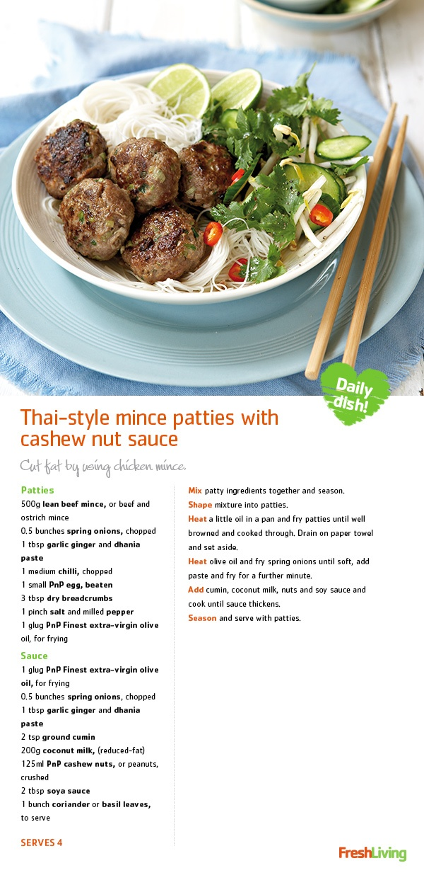 TASTE OF THAI: A unique take on the mince patty - served with oh-so-delicious cashew-nut sauce - brings a #Thai twist to the traditional #beef burger. #dailydish #picknpay #freshliving