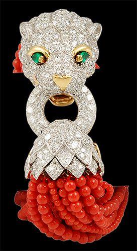 DAVID WEBB Two Tone Diamond, Emerald & Coral Beads Lion Head Bracelet - Yafa Jewelry Thought this was interesting.