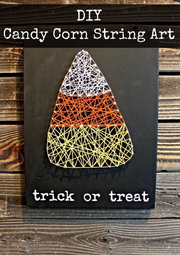 DIY Candy Corn String Art // Fall is here! Decorate with this easy craft.