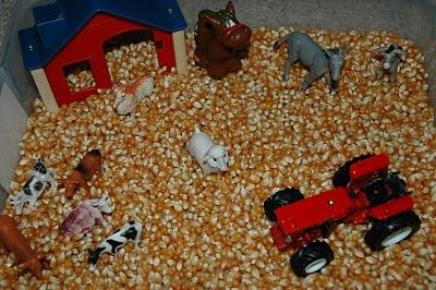 Oh, how my son loved playing with his tractors in a huge pile of corn that we would spread out on the living room floor on a large bed sheet!