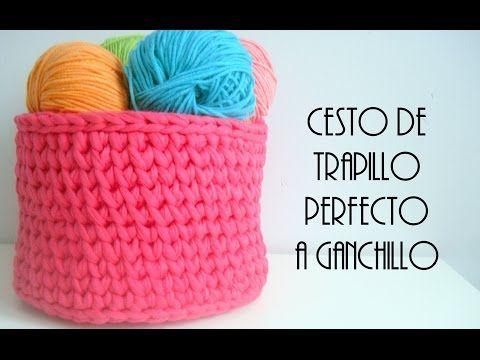 Canastas de trapillo / totora a  crochet - YouTube
