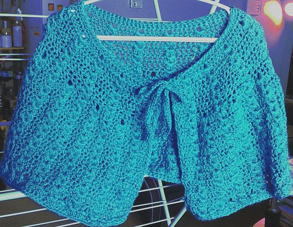 Crochet Short cape in peacock blue