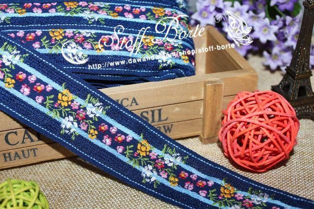 Gewebte Bordüre 2m  M106 Blumenband