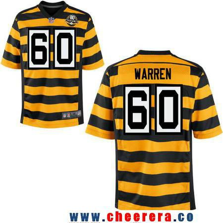 Men's Pittsburgh Steelers #60 Greg Warren Yellow With Black Bumblebee 80th Patch Stitched NFL Nike Elite Jersey