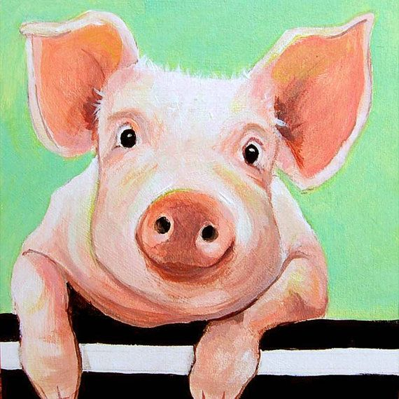 Animal art print WHATCHA DOIN? is a handmade giclee from my original acrylic pig painting, available in two sizes