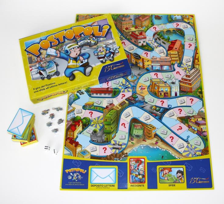 """Con """"Postopoli"""" seguite il giro del postino. Come fare? Basta un tabellone, 2 dadi, 6 pedine postino e 3 mazzi di carte (lettera, incognita e sfida)."""