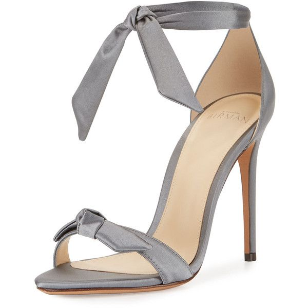 Alexandre Birman Clarita Satin Ankle-Tie Sandal (£460) ❤ liked on Polyvore featuring shoes, sandals, grey, heels, shoes sandals, toe strap sandals, self tying shoes, ankle tie shoes, satin sandals and grey sandals