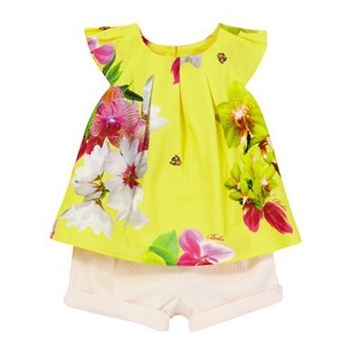 Baker by Ted Baker Baby girl's yellow floral print top and pink textured shorts set | Debenhams
