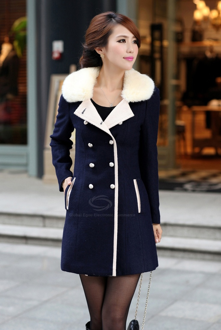 Comfy Faux Cashmere Long Coat for Woman Navy Blue These little pettite,  cute Japanese/Chinese women!