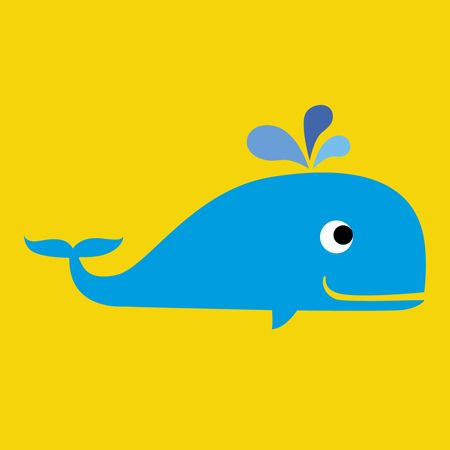 Whale card on yellow