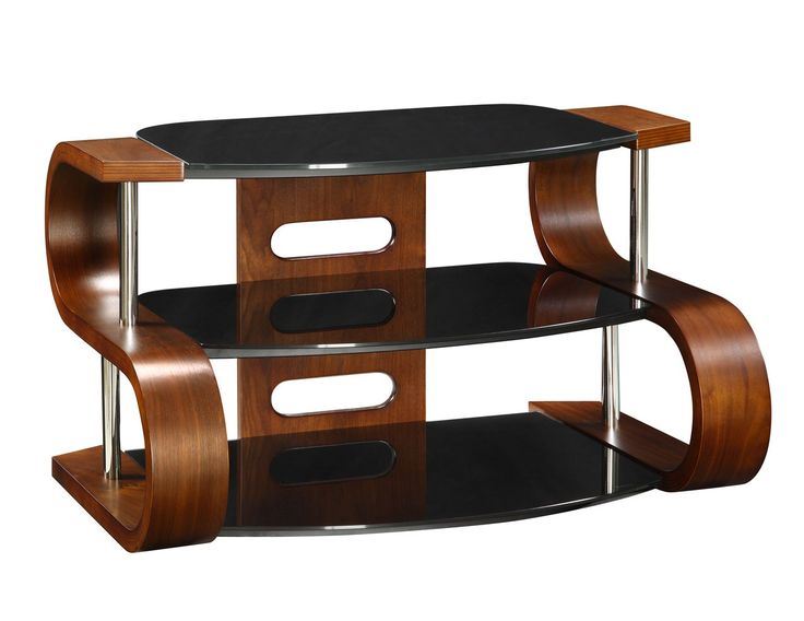 Jual Furnishings JF203-1100 Curved Wood Walnut TV Stand 40-50