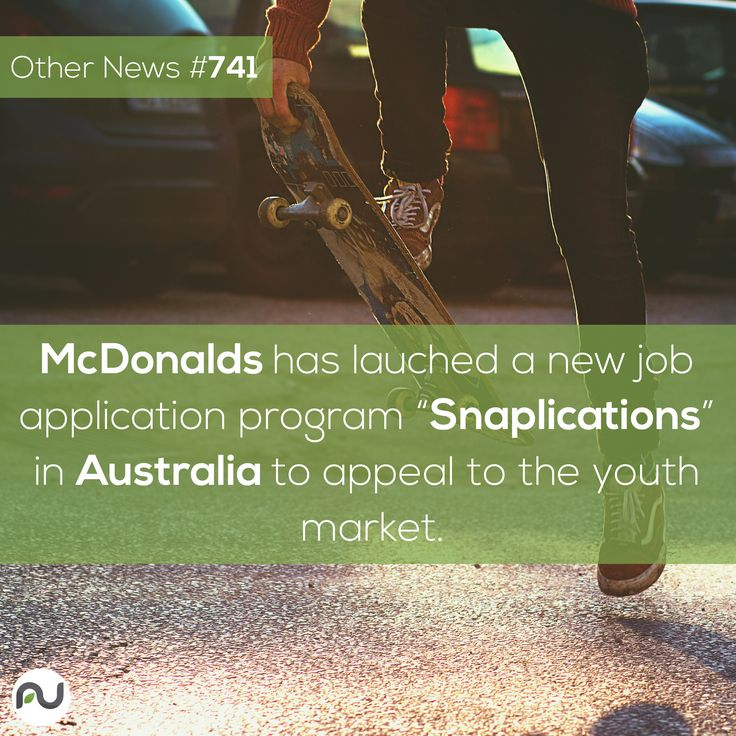 "Other News #741: One of the largest employers of young people has become the first to utilize Snapchat within active job applications. McDonald's has launched ""Snaplications"" in Australia to appeal to the youth market and make the preliminary interview process more fun for applicants."