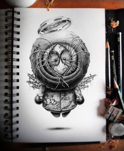 Detailed Decaying Graphite Illustrations to Blow Your Mind