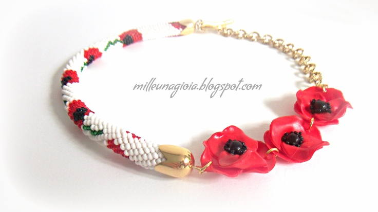 """Necklace """"poppies"""" crochet / fimo"""