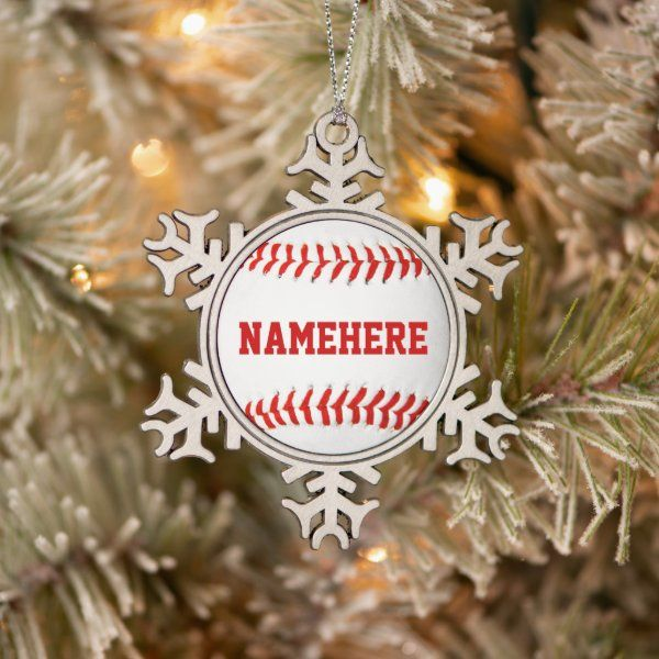 Personalized Baseball Ornament Zazzle Com In 2020 Personalized Christmas Ornaments Baseball Ornaments Christmas Tree Decorations