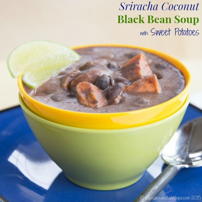Sriracha Coconut Black Bean Soup with Sweet Potatoes