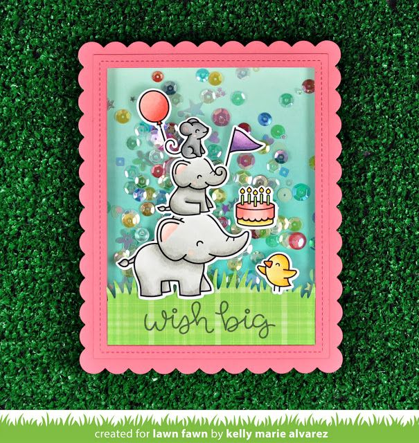 Lawn Fawn - Elphie Selfie shaker card by Kelly for Lawn Fawn Design Team