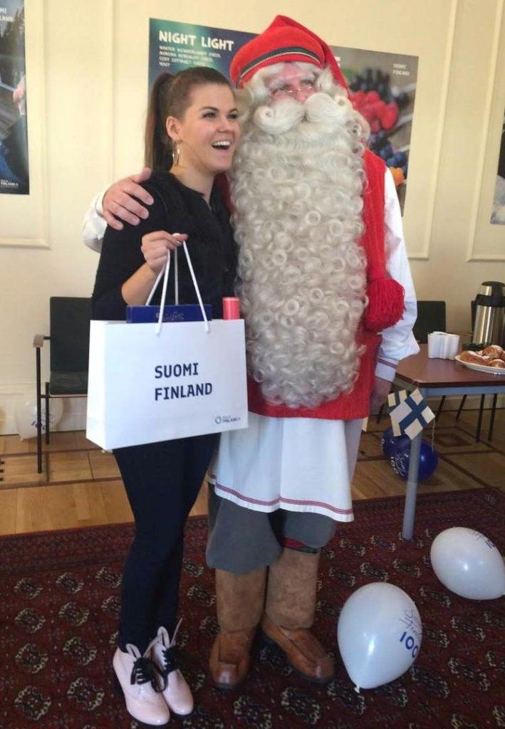 Saara Aalto with Joulupukki (Santa Claus). Saara Aalto places 2nd in Britain's X Factor 2016