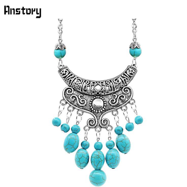 Vintage-Look Türkis Halskette Victoria Antikes Silber Überzogene Baumeln Blume Anhänger Lange Kette Modeschmuck 28TN133