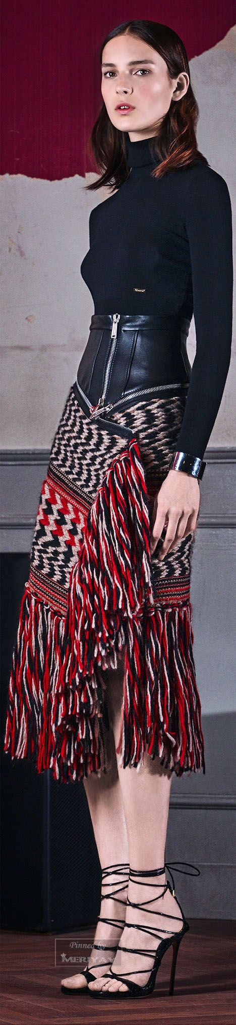 Dsquared² Pre-F 15: turtleneck top, awesome skirt with leather & fringe.