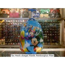 Tas Sekolah Anak Trolley Roda Import TK SD Fiber Mickey Mouse
