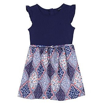 Nautica® Girls' 4-6X Short Sleeve Top And Woven Skirt Dress