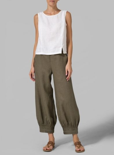 PLUS Clothing - Linen Regular Fit Crop Pants