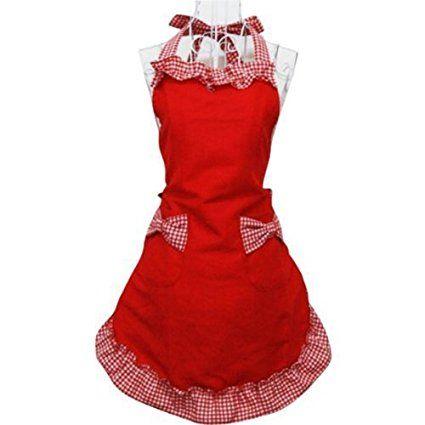Miya® süße Prinzessin rot Küche Schürze Grillschürze mit rot & weiß Karo Muster kariert Schleife und Taschen aus Baumwolle, süßes Gechenk für Mutter, Frau, Freundin, Tochter, Schwester usw.