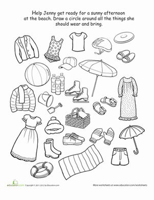 Preschool Weather Seasons Life Learning Worksheets What To Wear The Beach