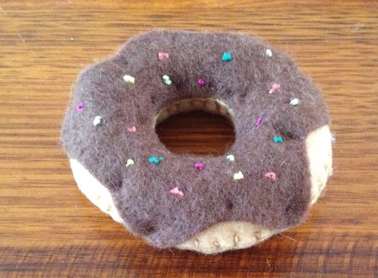 Felt donut with chocolate icing