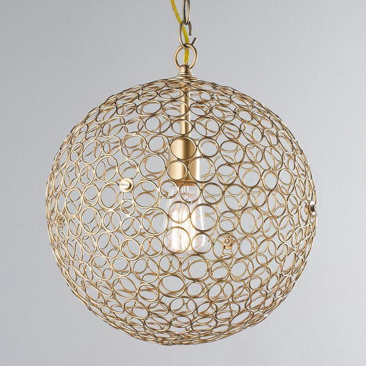 Silver Circles Sphere Pendant Light - Medium