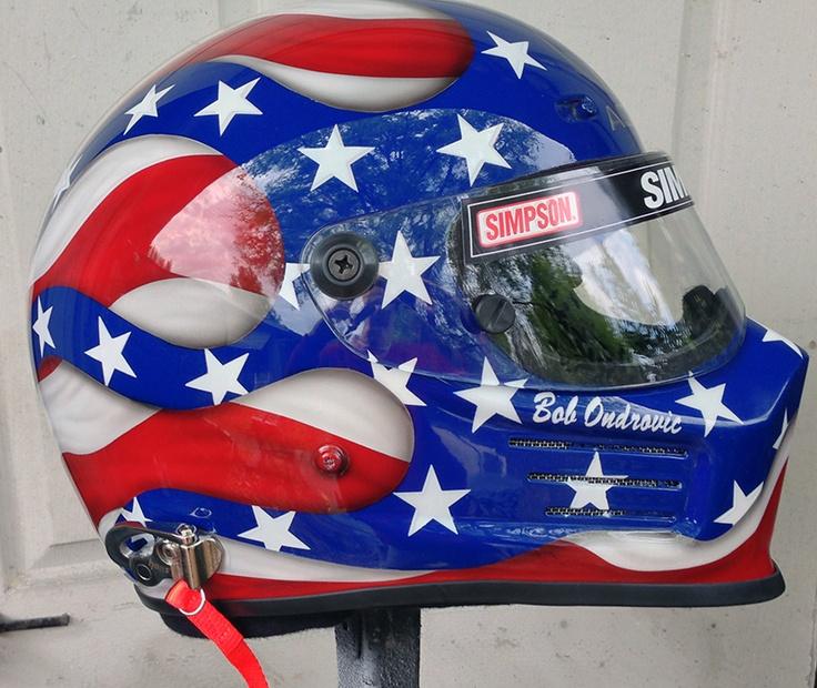 Bell race helmet,Flag design race helmet,custom race helmet design and painting by Don Johnson, airbrushgallery.com call 1-352-361-3403 to have your helmet custom painted