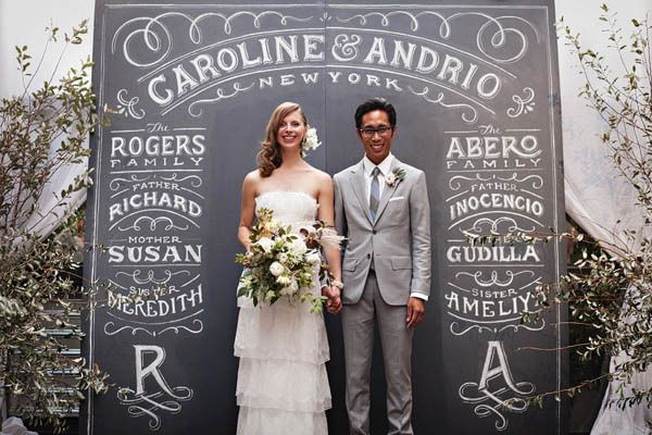Incredible idea for a DIY chalkboard wedding backdrop.