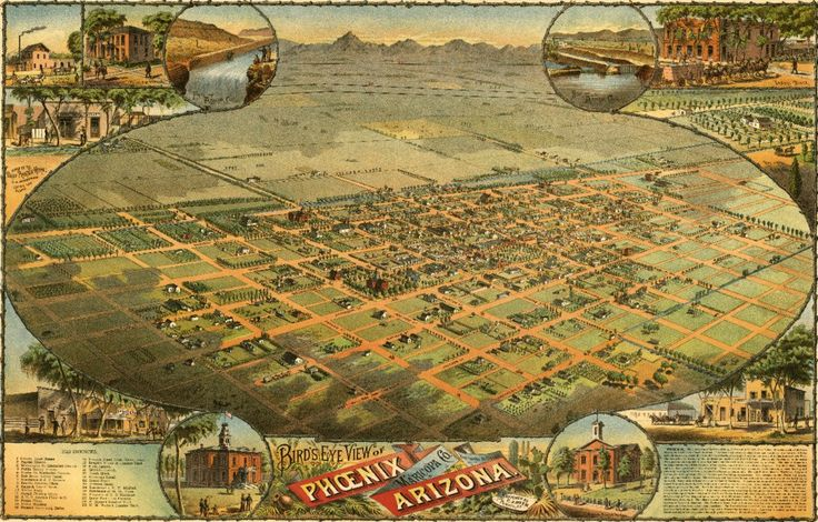 Phoenix, Arizona - (1885) - Panoramic Map