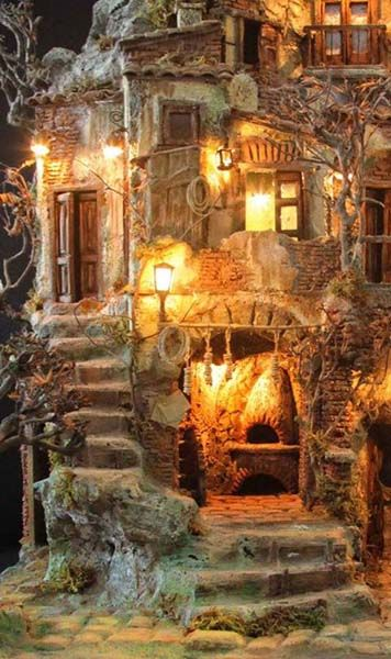 Part of an Italian Presepe (nativity) scene, complete with pizza oven.