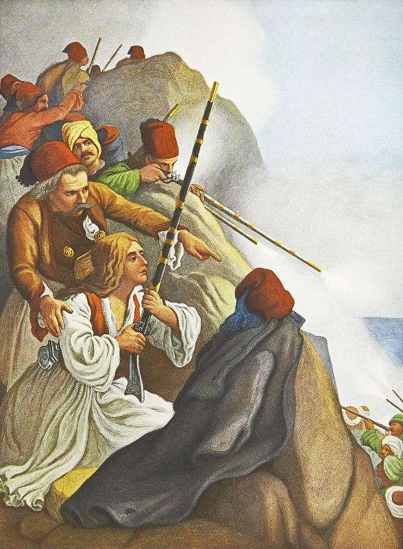 Λεύκωμα : Το Ηρώον του Αγώνος - Ο Πλαπούτας αμύνεται κατά του εχθρού.Πρόκειτα ιγια ανατύπωση τετραχρωμίας του πίνακα του Von Hess με θέμα τον αγωνιστή του 21 Πλαπούτα να μάχεται στο Σχοινοχώρι της Πελοποννήσου με τα στρατεύματα του Δράμαλη τον Ιούλιο του 1822.Ο γερμανός ζωγράφος Peter Von Hess φιλοτέχνησε κατά το διάστημα 1827-1834, 40 λιθογραφίες με θέματα από την Ελληνική Επανάσταση μετά από ανάθεση από τον φιλέλληνα βασιλιά της Βαυαρίας Λουδοβίκο, πατέρα του Όθωνα .