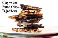 5 Ingredient Pretzel Crisps Toffee Bark via @Kristina Wiley