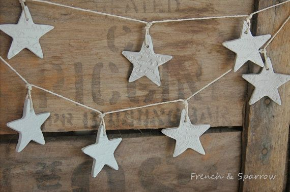 Clay Garland  Petite French Script Stars by FrenchandSparrow, $15.00 - for the mantle this Christmas??