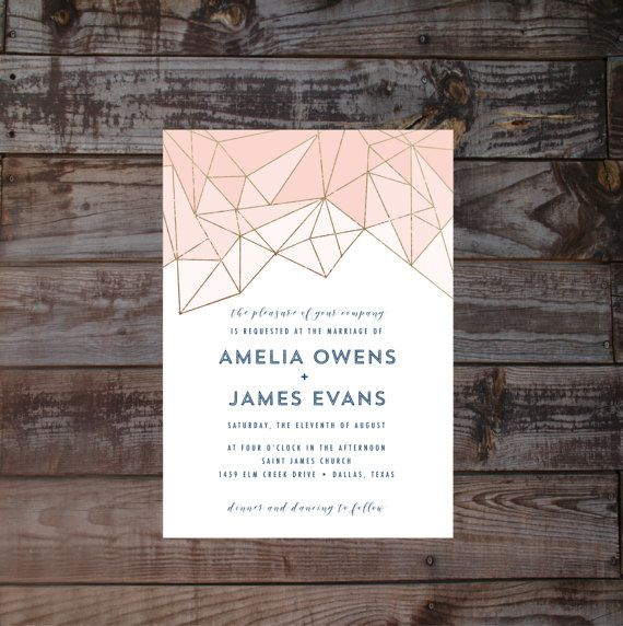 Modern Wedding Invitations, geometric Wedding Invitations, gold Wedding Invitations, printed Wedding Invites, navy blush Wedding Invitations